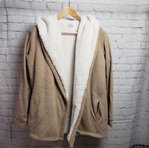 Kismet Cozy Tan Sherpa Teddy Coat Jacket Winter Hooded Hoodie Cozy Loungewear